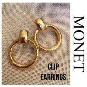 Vintage Monet Hammered Door Knocker Clip Earrings